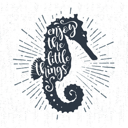 Hand drawn textured vintage label, retro badge with seahorse vector illustration and