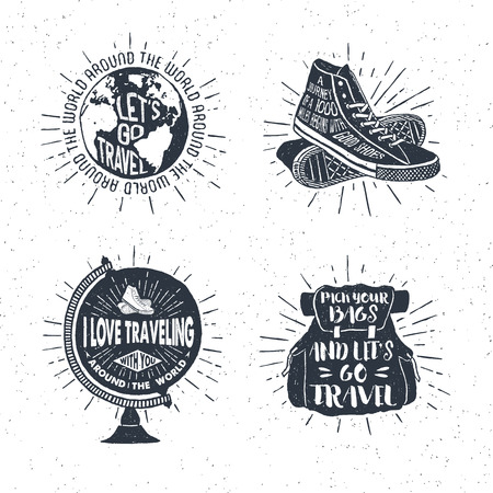 Hand drawn textured vintage labels, retro badges set with globe, sneakers, bag, and lettering vector illustrations.