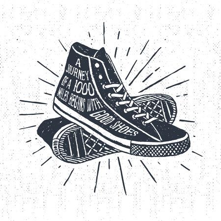 Hand getrokken geweven vintage etiket, retro badge met sneakers vector illustratie en inspirerende belettering. Stock Illustratie