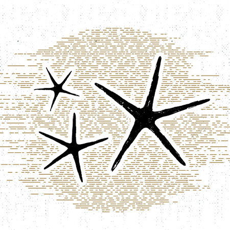 wanderlust: Hand drawn vintage icon with a textured sea stars vector illustration.