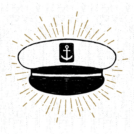 captain hat: Hand drawn vintage icon with a textured captain hat vector illustration.