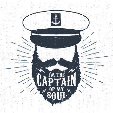 Hand drawn vintage label, retro badge with textured captain vector illustration and I am the captain of my soul inspiring lettering. Ilustrace