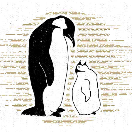 wanderlust: Hand drawn vintage icon with a textured penguins vector illustration.