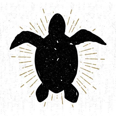 手には、ビンテージ テクスチャ ウミガメ ベクトル イラスト アイコンが描画されます。  イラスト・ベクター素材