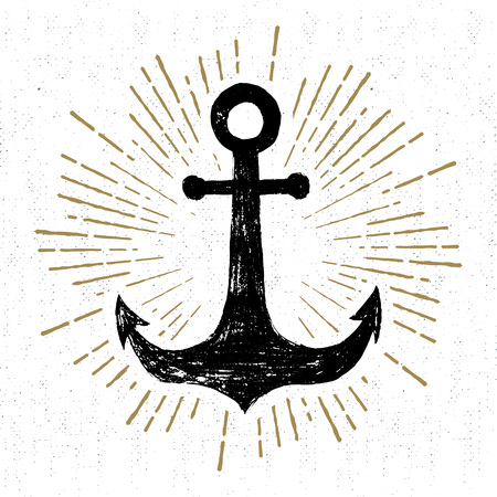 Hand drawn vintage icon with a textured anchor vector illustration.