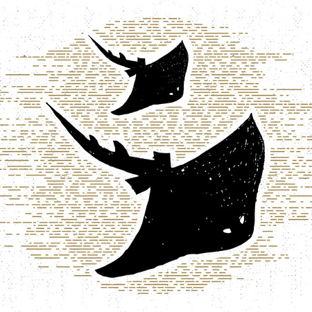 stingrays: Hand drawn vintage icon with a textured stingrays vector illustration.
