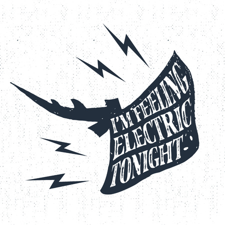 stingrays: Hand drawn vintage label, retro badge with textured stingrays vector illustration and Im feeling electric tonight lettering.