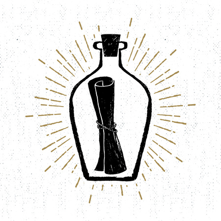 send: Hand drawn vintage icon with a textured letter in a bottle vector illustration.