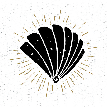 wanderlust: Hand drawn vintage icon with a textured scallop seashell vector illustration.