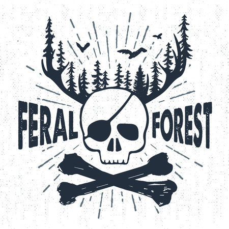 fur trees: Hand drawn vintage label with textured skull and bones vector illustration and Feral forest lettering.
