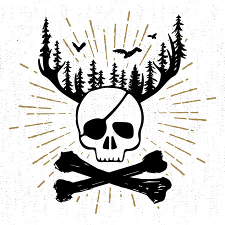 fur trees: Hand drawn vintage icon with a textured skull and bones vector illustration.