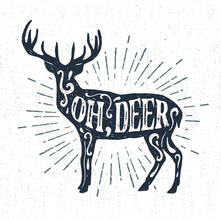 star burst christmas: Hand drawn vintage label with textured deer vector illustration and Oh, deer lettering.