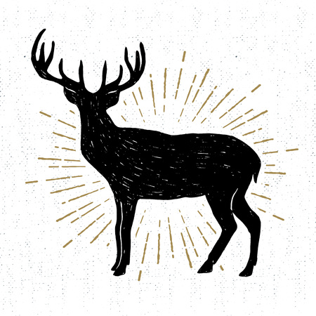 Hand drawn vintage icon with a textured deer vector illustration.