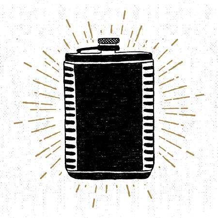 Hand getrokken uitstekende icoon met een geweven fles vector illustratie.