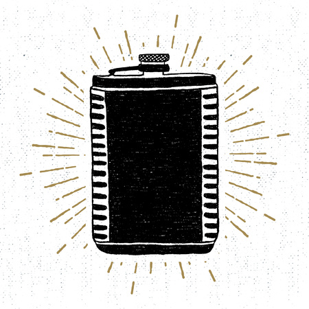 Hand drawn vintage icon with a textured flask vector illustration.
