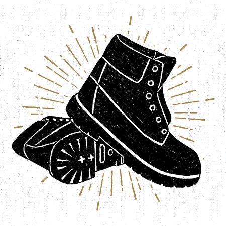 手描きのテクスチャ ブーツはベクトル イラストです。