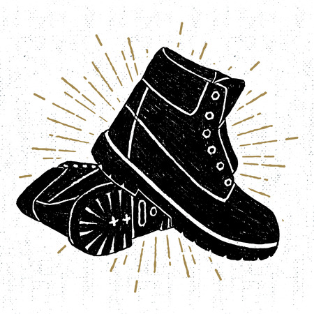 Hand drawn textured boots vector illustration.