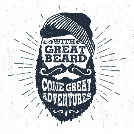 Hand drawn vintage label with textured bearded face vector illustration and With great beard come great adventures lettering.