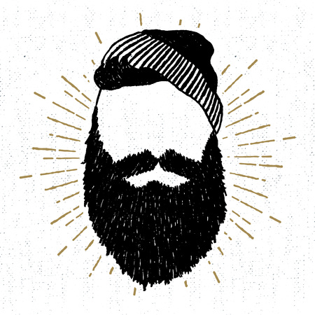 lumber: Hand drawn vintage icon with a textured face with beard vector illustration. Illustration