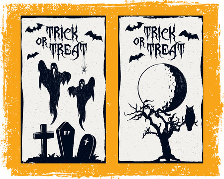 graves: Hand drawn textured Halloween card with graves, ghosts, bats, moon, and dead tree