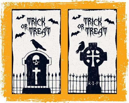 tombstones: Hand drawn textured Halloween card with tombstones, ravens, and bats