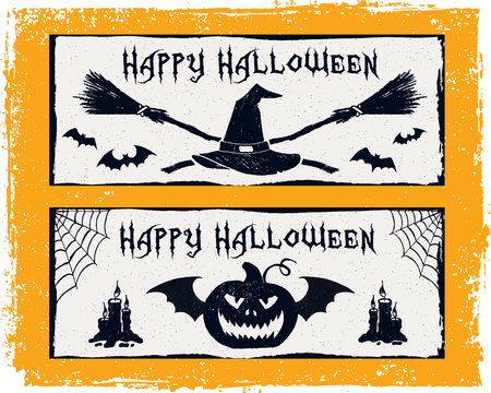 broomsticks: Hand drawn textured Halloween card with broomsticks, bats, jack-o-lantern, and candles.
