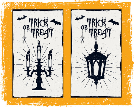candelabrum: Hand drawn textured Halloween card with candlestick, lantern, and bats