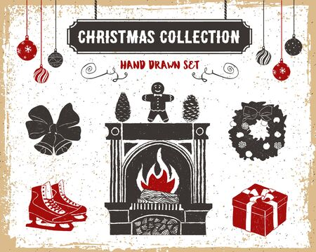 mantelpiece: Hand drawn textured vintage Christmas icons set with fireplace, gingerbread man, pine cones, ice skates, bells, gift box, and wreath vector illustrations.