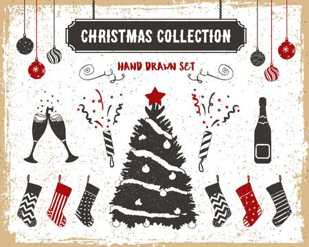 flappers: Dibujado a mano iconos de la Navidad de la vendimia con textura establecidos con el �rbol de navidad, medias, champ�n, vidrios, bolas, y aletas ilustraciones de vectores. Vectores