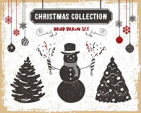 flappers: Dibujado a mano iconos de la Navidad de la vendimia con textura establecidos con los abetos, muñeco de nieve, y las ilustraciones de vectores aletas. Vectores