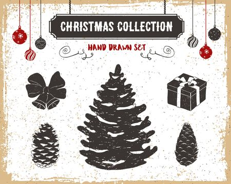 hand bells: Hand drawn textured vintage Christmas icons set with fir tree, cones, bells, present, and Christmas balls vector illustrations.