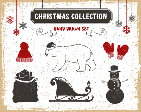 santas sack: Hand drawn textured vintage Christmas icons set with knitted hat, polar bear, mittens, Santas sack, sleigh, and a snowman vector illustrations.
