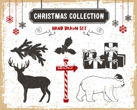 fir branch: Hand drawn textured vintage Christmas icons set with fir branch, mistletoe, gift boxes, deer, and a polar bear vector illustrations. Illustration