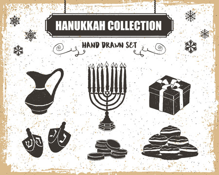 pitcher: Hand drawn textured Hanukkah icons set with menorah, oil pitcher, gift box, dreidels, gelt, and sufganiyot vector illustrations. Illustration