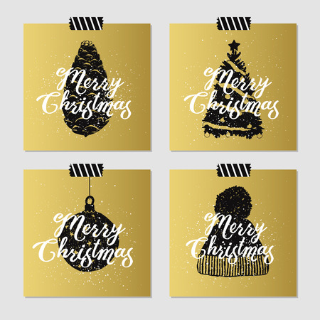 pine cone: Hand drawn Christmas cards set with textured pine cone, christmas tree, decorative ball, and knitted hat vector illustrations. Illustration