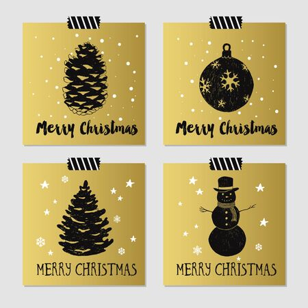 pine cone: Hand drawn Christmas cards set with textured pine cone, Christmas tree, decorative ball, and snowman vector illustrations.