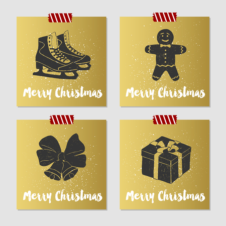 ice skates: Hand drawn Christmas cards set with textured ice skates, gingerbread man, bells, and gift box vector illustrations.