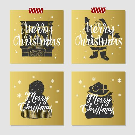 santas sack: Hand drawn Christmas cards set with textured fireplace, Santa, knitted hat, and Santas sack vector illustrations. Illustration