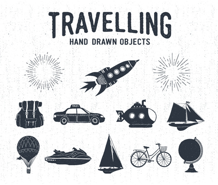 air balloon: Hand drawn textured vintage travel icons set with rocket, backpack, taxi, submarine, yacht, hot air balloon, bicycle, water scooter, and starburst vector illustrations. Illustration
