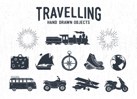 Hand drawn textured vintage travel icons set with steam train, suitcase, yacht, sneakers, bus, quad bike, plane, Earth, and starburst vector illustrations.