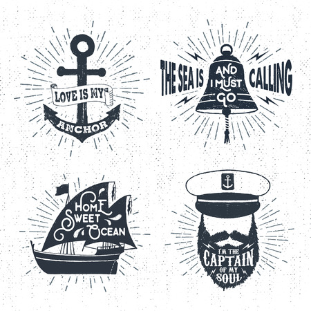 anchor drawing: Hand drawn textured vintage badges set with anchor, captains face, bell, ship, and inspirational lettering.