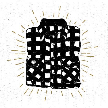 手には、テクスチャの格子縞のシャツのベクトル図とビンテージのアイコンが描画されます。