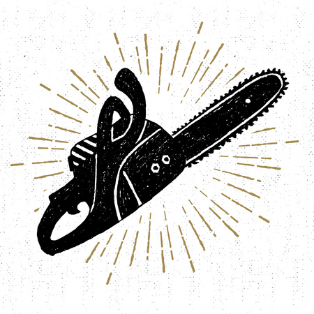 Hand drawn vintage icon with a textured chainsaw vector illustration. 일러스트