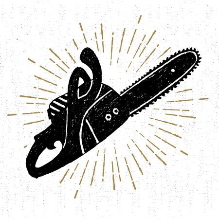 Dibujado a mano icono de la vendimia con una ilustración vectorial con textura motosierra.