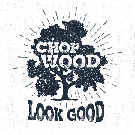 """Mano etiqueta dibujada con el roble de textura ilustración vectorial árbol y """"madera de la tajada, se ven bien"""" las letras. Ilustración de vector"""