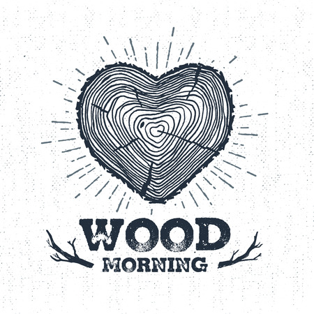 Hand drawn label with textured tree trunk vector illustration and Wood morning? lettering. Ilustracja