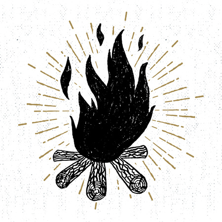 Hand drawn icon with a textured campfire vector illustration.