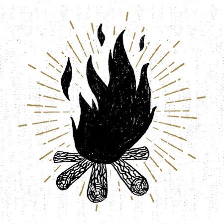 Mano icono dibujado con una ilustración vectorial con textura de una fogata.