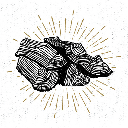 timber floor: Hand drawn icon with a textured wood pile vector illustration.