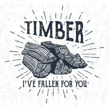 Hand drawn label with textured wood pile vector illustration and Timber. Ive fallen for you lettering.